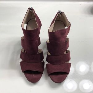 Cato burgundy suede wedges